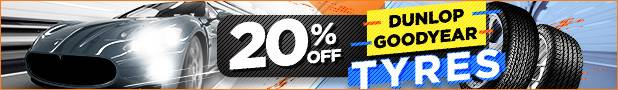 20% OFF ALL Goodyear & Dunlop Tyres